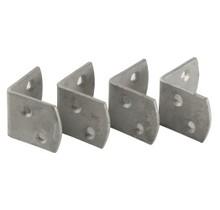 4x bevestigingshoekjes 35x35x30mm van gegalvaniseerd staal met rvs schroeven voor tuinschermen