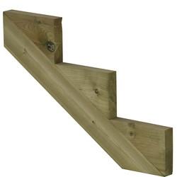Trapbalk 3 treden  van geïmpregneerd hout voor tuintrap