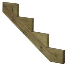 Trapbalk 4 treden  van geïmpregneerd hout voor tuintrap