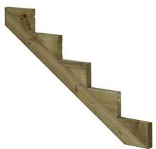 Trapbalk 5 treden van geïmpregneerd hout voor tuintrap
