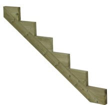 Staircase stringer 6 steps of pressure treated wood for garden stairs