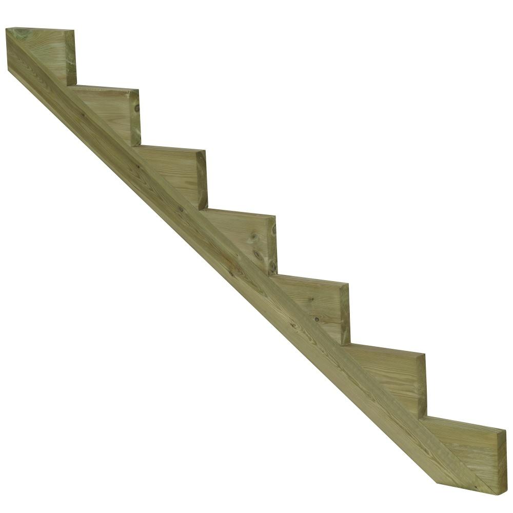 Limon 7 marches pour escalier de jardin en bois autoclave classe 4