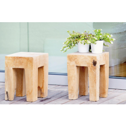 Square teak wood stool JAVA