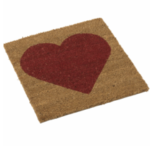 Kokos deurmat met rood hart 40x40cm