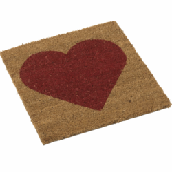 Coco door mat with red heart 40x40cm