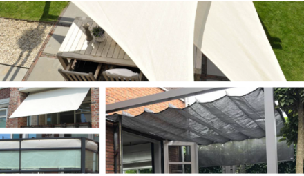 Shade sail, pergola and parasol