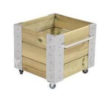 Cubic bac à fleur carré 46x50x45cm bois et mobile avec cornières galvanisées et roulettes