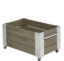 Cubic design rectangular planter on wheels 87x50x45cm - low model