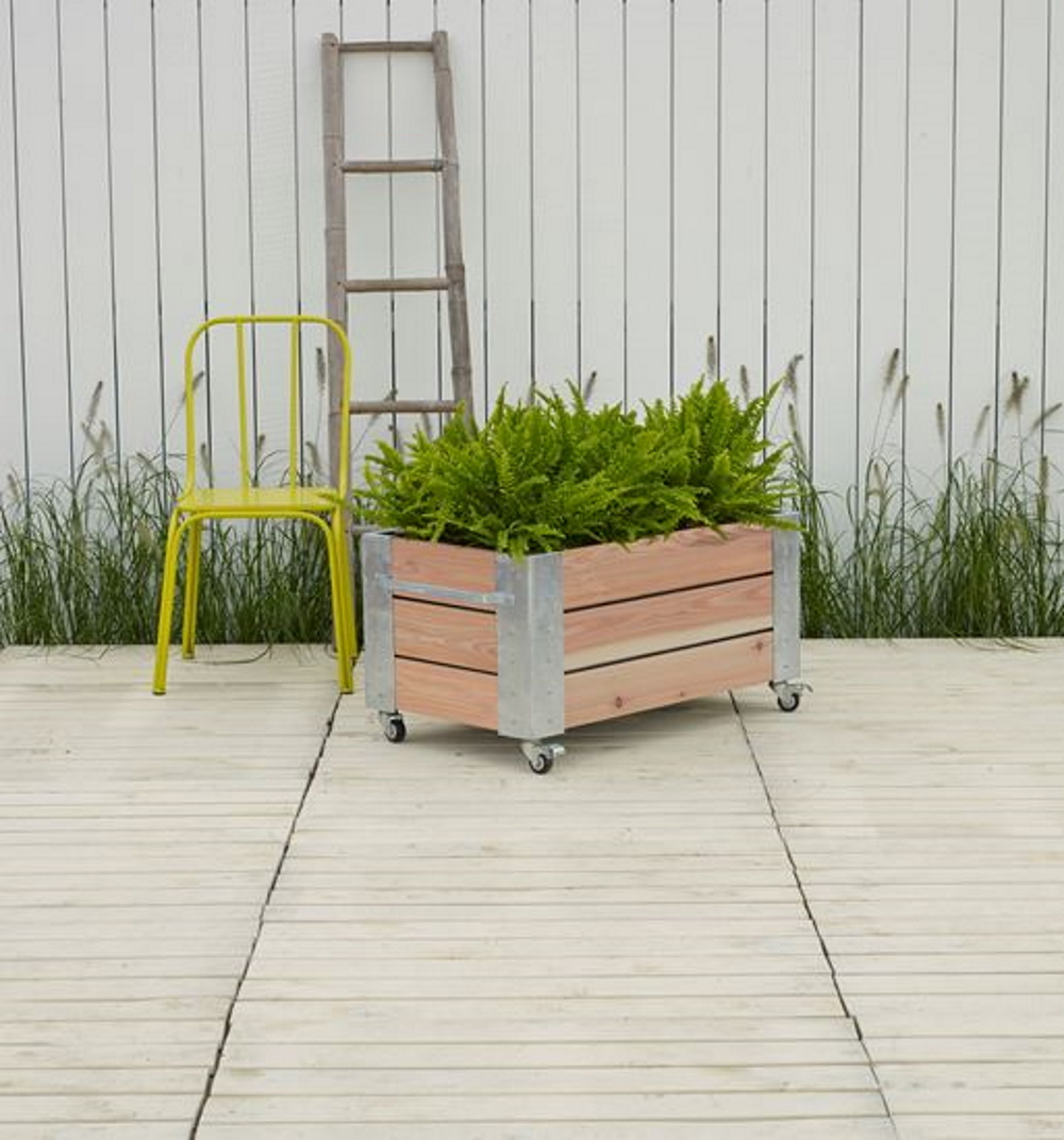 Picture of: Cubic Design Rectangular Planter On Wheels 87x50x45cm Low Model Vinuovo