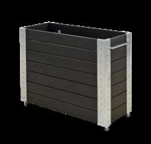Cubic bac à fleur rectangulaire 120x50x95cm et mobile avec cornières galvanisées et roulettes