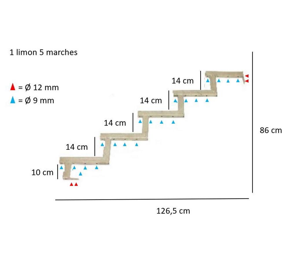 Largeur D Une Marche D Escalier plus danemark limon 5 marches pour escalier de jardin en métal galvanisé