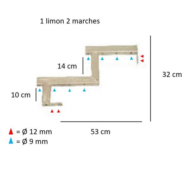 Afmetingen trapbalk ijzer gegalvaniseerd staal tuintrap 3 treden
