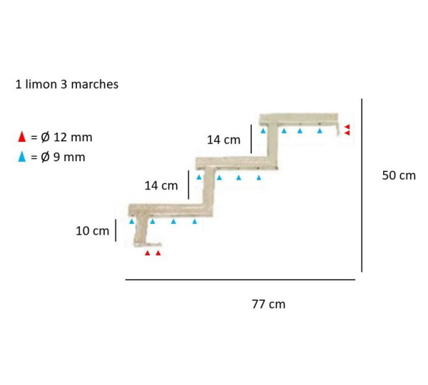 dimensions steel staircase stringer 3 steps