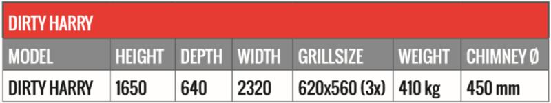 tableau dimensions Braai professionnelle barbecue Sud-africain encastrable DH2300-XXXL
