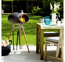 Morso Grill Forno II cast iron barbecue with teak base
