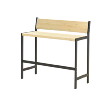 Bar Bench with backrest Industrial style FUNKIS – 2 seats -  PLUS