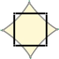 Tekening kruislingse bevestiging van een vierkant schaduwdoek in pergola