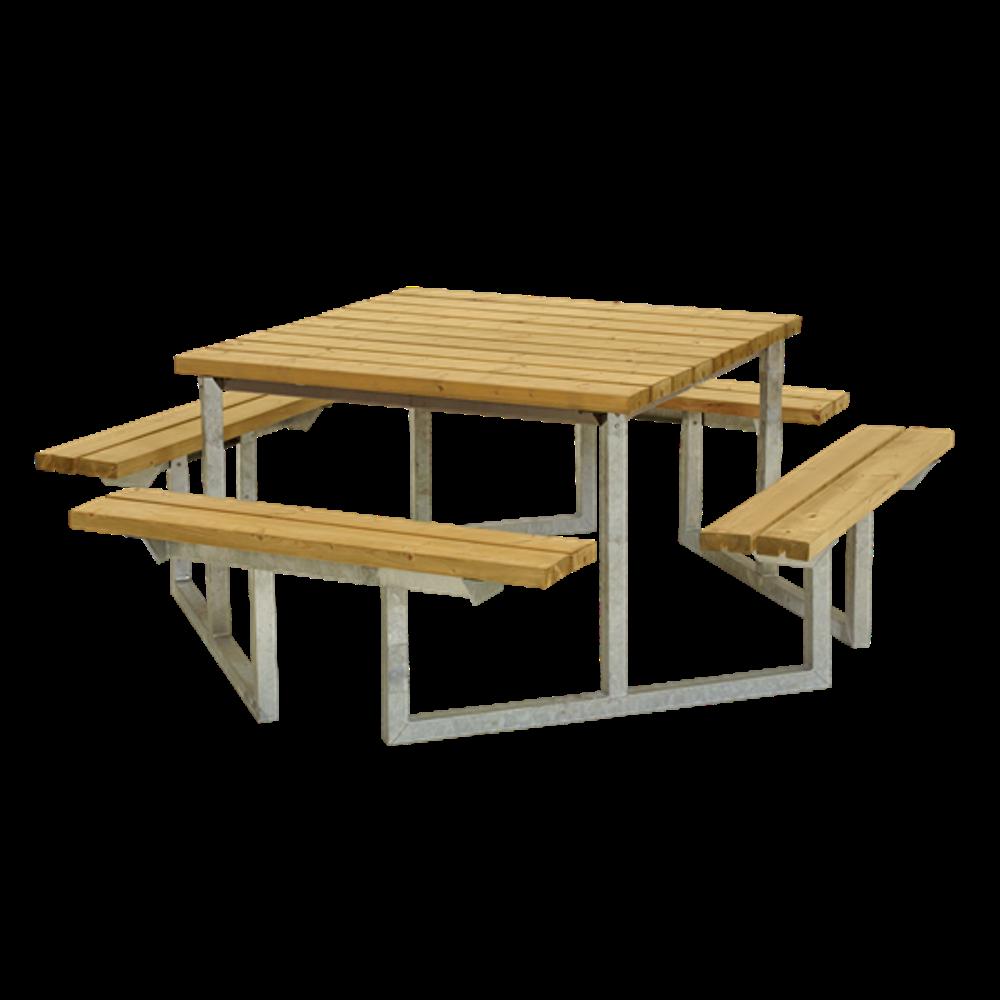 Plus Danemark Table de pique-nique carrée TWIST - 9 à 9 personnes - PLUS