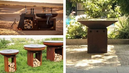 Fire bowl, fire pit, griddle, plancha, barbecue and grill on a wood fire