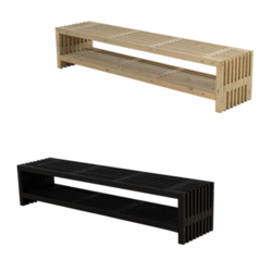 Side bench with storage space - for indoor and outdoor use - PLUS