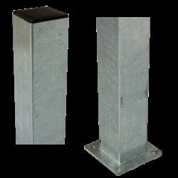 Poteau carré 8x8cm avec base - acier - différentes hauteurs - PLUS