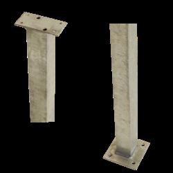 Paal vierkant 4,5x4,5x103,3cm voor rechte leuning - staal - PLUS