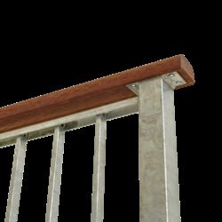 Main courante en bois d'acajou - 199x6x3,6cm