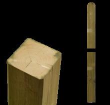 Poteau en bois - 7x7cm - extrémité droite et arrondie - imprégné en autoclave