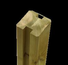 Tuinpaal met groef - 268x9x9cm - tussenstuk - verlijmd hout
