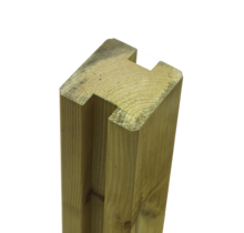 Tuinpaal met 2 H groeven - 268x9x9cm - tussenstuk - massief hout