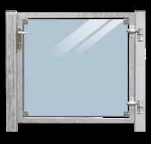 Glazen tuindeur 115x91cm met slot - in frame met palen om in beton te gieten