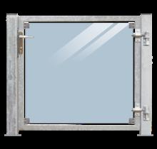 Glazen tuindeur 115x91cm in frame met slot en palen voor montage op hout of beton