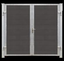 FUTURA tuinpoort dubbel -  houtkomposiet stalen frame met slot en palen - 213x180cm