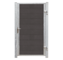 FUTURA single WPC garden gate 115x180cm - steel frame with lock and posts