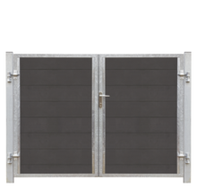 FUTURA double garden gate 213x145cm - WPC with steel frame with lock and posts-213x145cm