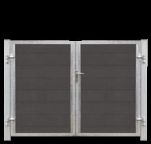 FUTURA tuinpoort dubbel -  houtkomposiet stalen frame met slot en palen - 213x145cm