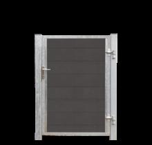 FUTURA houtcomposiet tuindeur enkel 115x145cm - stalen frame met slot en palen