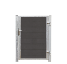FUTURA single WPC garden gate 115x145cm - steel frame with lock and posts