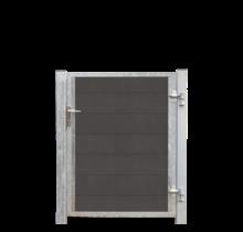 FUTURA houtcomposiet tuindeur enkel 115x127cm - stalen frame met slot en palen