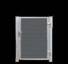 Houtcomposiet tuinpoort Enkel - stalen frame met slot en palen - 115x135cm - ARTURA