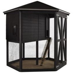 Chicken coop of wood 6-sided - Black