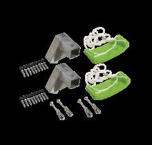 Set van 2 groene schommels met schroeven, karabijnhaken en profielen voor CUBIC palen