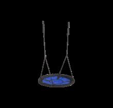 Siège de balançoire circulaire en bleu et noir, sans accessoires