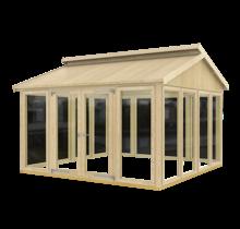 Tuinhuis met ramen en dubbele deur, vloer optioneel - 350x350x283cm