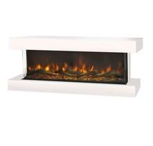 Disegno 3D LED wandhaard S, 114cm breed, realistisch vuurbeeld, verwarming, 3-zijdig zicht