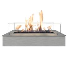 Brûleur bio-éthanol L - acier inoxydable ou acier inoxydable noir - 8x57,5x20cm