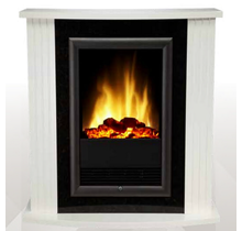 MOZART Optiflame Freestanding Electric Fireplace White with Heat Output