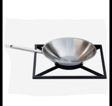Wokset voor Braai - stalen rooster en RVS wokpan