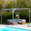 Vinuovo Wood pergola kit Angelim 418x318cm free standing with retractable waterproof shade canopy