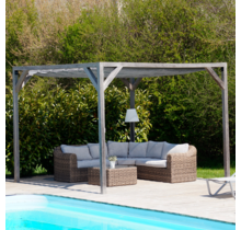 Wood pergola kit Angelim 518x400cm free standing with retractable shade canopy